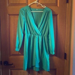 Dark mint faux wrap dress.
